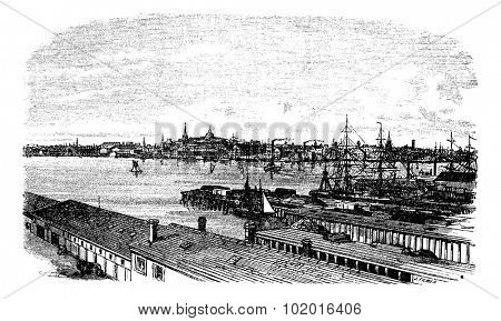 Boston, in Massachusetts, USA, during the 1890s, vintage engraving. Old engraved illustration of Boston. Trousset Encyclopedia