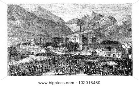Kandahar capital city of province Afghanistan vintage engraving. Old engraved illustration of mountains and residential structures in the 1890s Trousset Encyclopedia poster