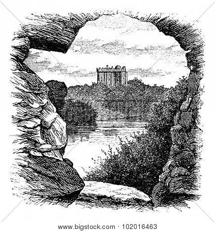 Blarney Castle, Blarney, Cork, Ireland, vintage engraving in 1890s. Old engraved illustration of Blarney Castle, County Cork, Ireland, 1890s.