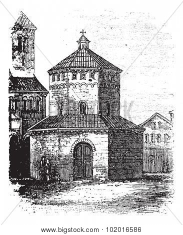 Baptistry of Novara, in Piedmont, Italy, during the 1890s, vintage engraving. Old engraved illustration of the Baptistry of Novara. Trousset encyclopedia