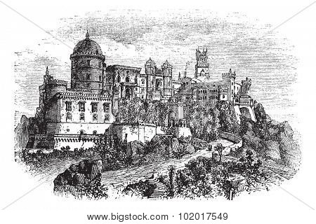Penha Convent, in Vila Velha, Brazil, during the 1890s, vintage engraving. Old engraved illustration of the Penha Convent. Trousset Encyclopedia
