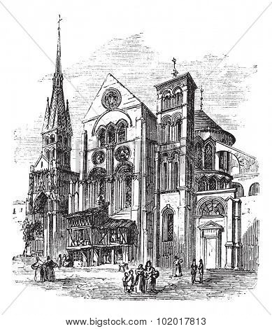 Notre-Dame-en-Vaux church, Chalons-en-Champagne, France vintage engraving. Old engraved illustration of Notre-Dame-en-Vaux church exterior. Trousset encyclopedia. poster