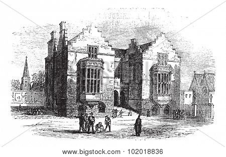 Harrow school vintage engraving. Old engraved illustration of harrow architecture, during 1800s. Trousset Encyclopedia.