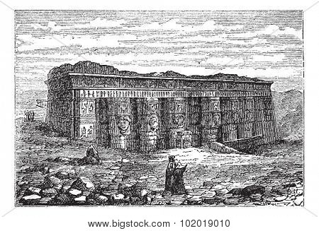 Temple of Hathor in Dendera, Egypt, during the 1890s, vintage engraving. Old engraved illustration of the Temple of Hathor. Trousset Encyclopedia