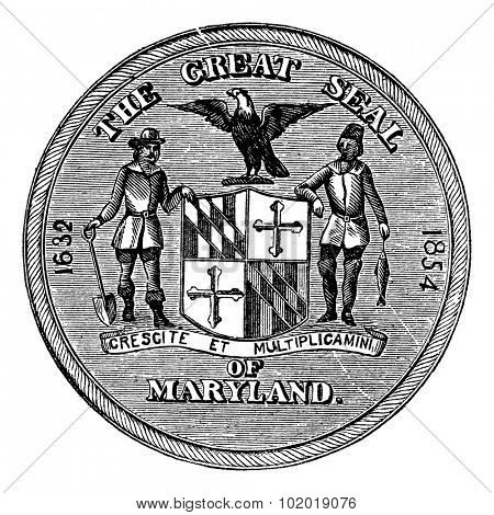 Great Seal of the State of Maryland, United States, vintage engraving. Old engraved illustration of Great Seal of the State of Maryland isolated on a white background. Trousset Encyclopedia