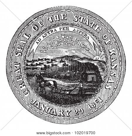 The Great Seal of the State of Kansas vintage engraving> old engraved illustration of the state seal of kansas. Trousset encyclopedia (1886 - 1891)