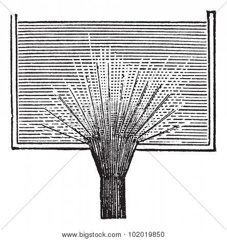 Vena contracta, vintage engraving. Old engraved illustration of Vena contracta. Trousset encyclopedia (1886 - 1891)
