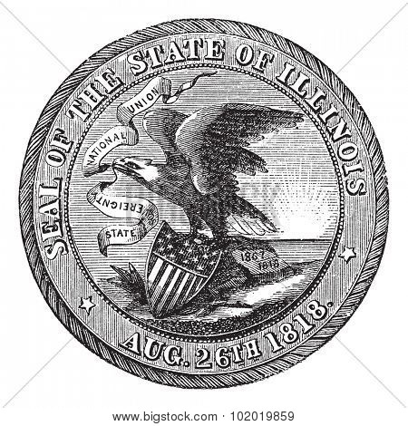 Great Seal of the State of Illinois , USA, vintage engraving. Old engraved illustration of Great Seal of the State of Illinois isolated on a white background. Trousset encyclopedia (1886 - 1891)