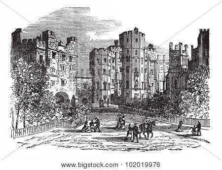 Lancaster castle, Lancashire vintage engraving. Old engraved illustration of historic lancaster castle.  Trousset encyclopedia (1886 - 1891).
