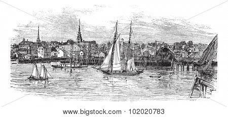 Newburyport in Massachusetts, USA, vintage engraved illustration. Trousset encyclopedia (1886 - 1891).