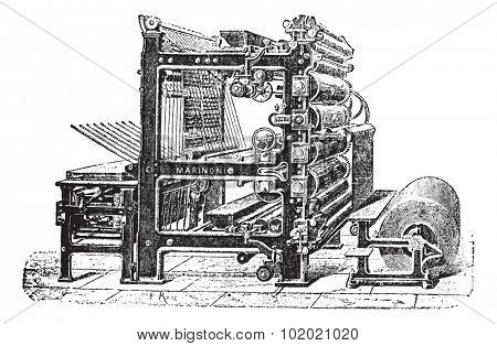 Marinoni Rotary printing press, vintage engraving. Old engraved illustration of Marinoni Rotary printing press.  Trousset encyclopedia (1886 - 1891).
