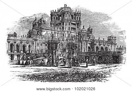 La Martiniere College in Lucknow, Uttar Pradesh, India, during the 1890s, vintage engraving. Old engraved illustration of La Martiniere College. Trousset encyclopedia (1886 - 1891).