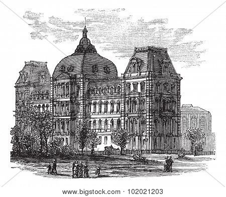 Old St. Louis County Courthouse or Old Courthouse in St. Louis, Missouri, USA, during the 1890s, vintage engraving. Trousset encyclopedia (1886 - 1891).