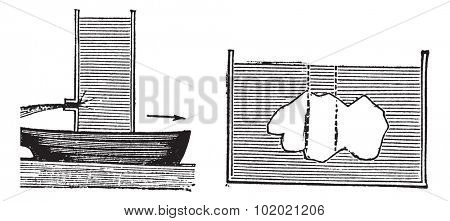Archimedes principle, vintage engraving. Old engraved illustration of Archimedes principle isolated on a white background.  Trousset encyclopedia (1886 - 1891).