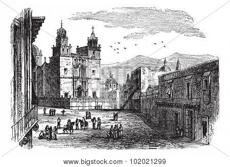 Cathedral at Guanajuato vintage engraving. Old engraved illustration of historic cathedral building at Guanajuato, 1890s. Trousset encyclopedia (1886 - 1891).