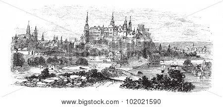 Wawel Castle or Royal Castle in Krakow, Poland, during the 1890s, vintage engraving. Old engraved illustration of Wawel Castle. Trousset encyclopedia (1886 - 1891).