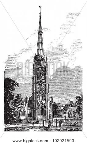 Coventry Cathedral or Saint Michael's Cathedral in England, United Kingdom, during the 1890s, vintage engraving. Illustration of Coventry Cathedral with bell tower. Trousset encyclopedia 1886 - 1891