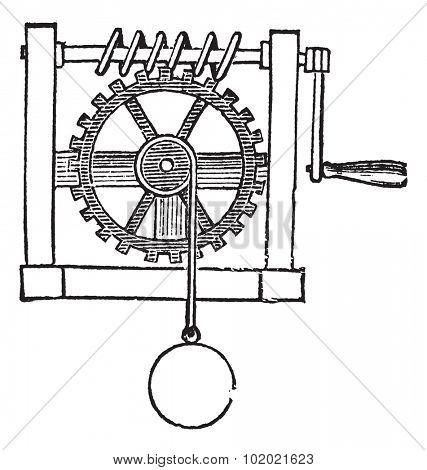 Gears, vintage engraved illustration. Trousset encyclopedia (1886 - 1891). Trousset encyclopedia (1886 - 1891).
