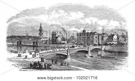 Albert bridge in Glasgow, Scotland, during the 1890s, vintage engraving. Old engraved illustration of Albert bridge with buildings in back. Trousset encyclopedia (1886 - 1891).