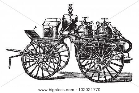 Horse-driven Fire Wagon, vintage engraved illustration. Trousset encyclopedia (1886 - 1891).
