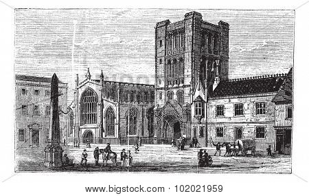 Bury St Edmunds, market town, Suffolk, England, old engraved illustration of Bury St Edmunds, market town, England, 1890s. Trousset encyclopedia (1886 - 1891).