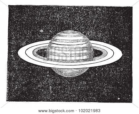 Saturn with its Rings, vintage engraving. Old engraved illustration of Saturn with its rings. Trousset encyclopedia (1886 - 1891).