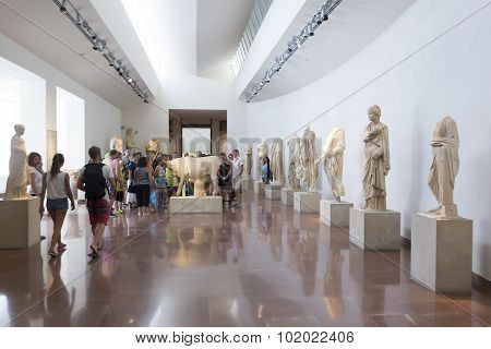Olympia Greece- August 9 2015: Ancient ruins of the Philippeion at Olympia Greece. The Archaeological Museum of Olympia the most important of Greece.