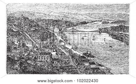 Chain Bridge, suspension bridge, Budapest, Hungary, old engraved illustration of Chain Bridge, Budapest, Hungary, 1890s. Trousset encyclopedia (1886 - 1891).