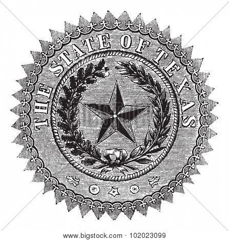 Seal of the State of Texas, vintage engraved illustration. Seal of the State of Texas isolated on white. Trousset encyclopedia (1886 - 1891).