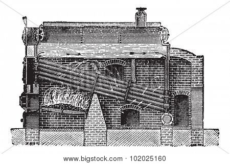 Babcock & Wilcox Boiler, vintage engraved illustration. Trousset encyclopedia (1886 - 1891).