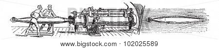 Discharge of the torpedo Whitehead, vintage engraved illustration. Trousset encyclopedia (1886 - 1891).