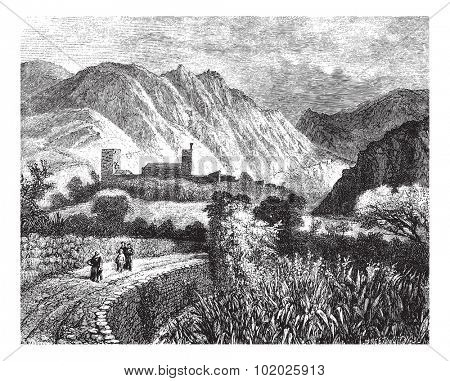 Le Vernet and Mount Canigou; view taken on the north side. - Drawing Ph. Blanchard, vintage engraved illustration. Magasin Pittoresque 1874.