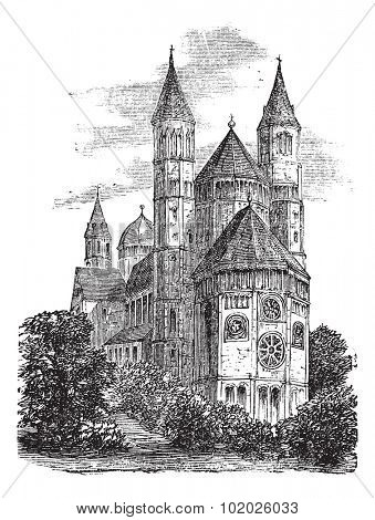 Cathedral of St Peter or Worms Cathedral in Worms, Germany, during the 1890s, vintage engraving. Old engraved illustration of Cathedral of St Peter. Trousset encyclopedia (1886 - 1891).