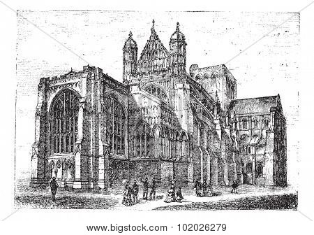 Winchester Cathedral in Winchester, Hampshire, England, during the 1890s, vintage engraving. Engraved illustration of Winchester Cathedral with people looking at it Trousset encyclopedia 1886 - 1891