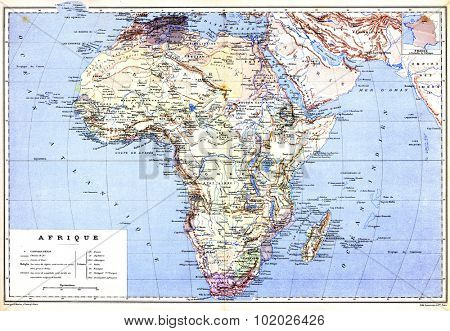 The hemispherical map of Africa with names of cities and countries on it from the late 1800s,  Trousset encyclopedia (1886 - 1891).