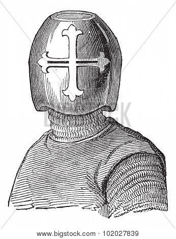 Old engraved illustration of Hughes Helmet, Viscount de Chalons isolated on a white background. Industrial encyclopedia E.-O. Lami - 1875.