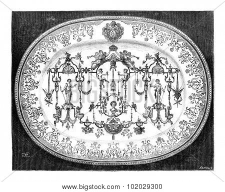 Large dish of Moustiers faience, blue decor, vintage engraved illustration. Magasin Pittoresque 1875.
