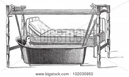 Dupont apparatus for transportation of patients from their beds in the bathtub, vintage engraved illustration. Usual Medicine Dictionary - Paul Labarthe - 1885.