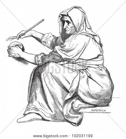 Facsimile of a sketch unprecedented Sebastien Cornu, vintage engraved illustration. Magasin Pittoresque 1875.