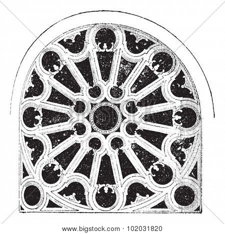 Rose Renaissance, In the Church of Sainte-Clotilde Andelys, vintage engraved illustration. Dictionary of words and things - Larive and Fleury - 1895.