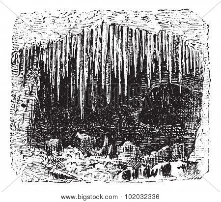 Stalactite in cave, vintage engraved illustration. Dictionary of words and things - Larive and Fleury - 1895.