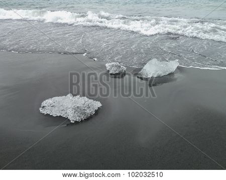 Beach With Ice Pieces