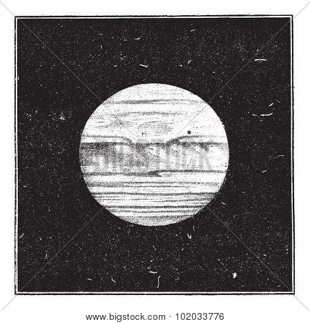 Aspect of Jupiter in December 1885 with a satellite passing the disc, vintage engraved illustration. Dictionary of words and things - Larive and Fleury - 1895.