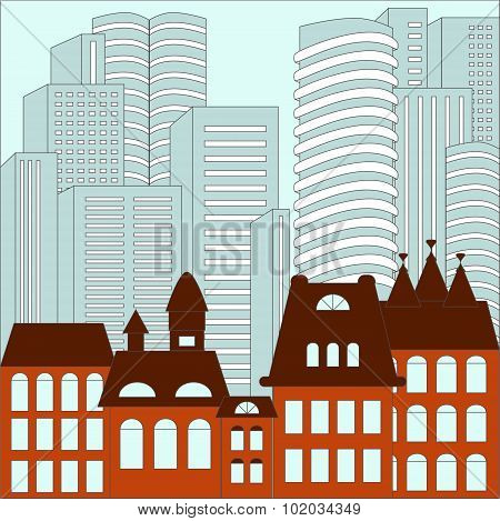 City. Modern And Old Building Background. Stock Vector