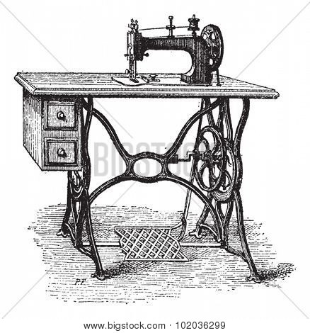 Foot-powered Sewing Machine, vintage engraved illustration. Dictionary of Words and Things - Larive and Fleury - 1895