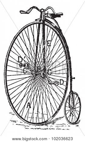 Velocipede, ordinary bicycle, vintage engraved illustration. Dictionary of words and things - Larive and Fleury - 1895.