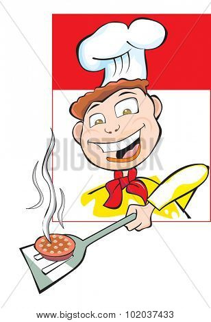 Cooking a Burger Patty, Happy Employee Wearing Yellow Uniform with Red Tie and Chef's Hat, vector illustration