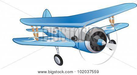 Biplane, Blue and White, Propeller-driven, vector illustration