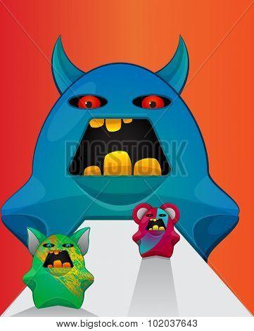 Gremlin Creatures, Monster Teddy Bears, vector illustration