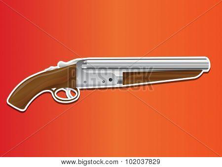 Lupara or Sawn-off Shotgun, vector illustration poster